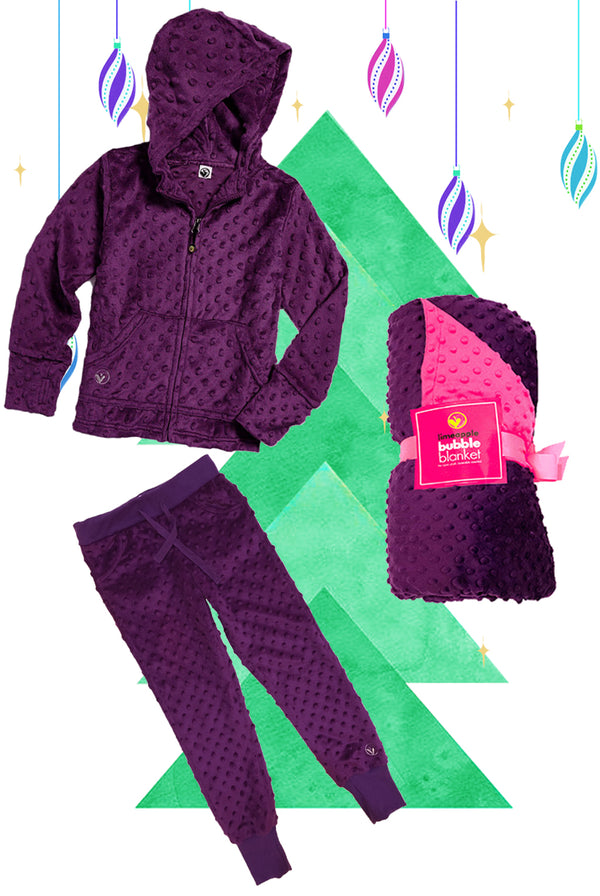 Bubble Hoodie , Jogger and Blanket Set - Dark Purple