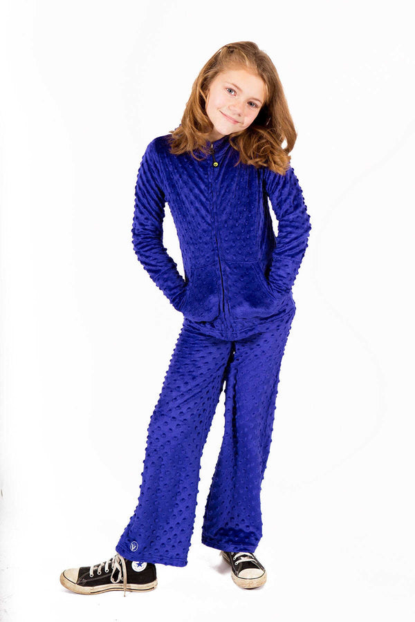 Girls Minky Bubble Hoodie + Pant Set - Cobalt by Limeapple