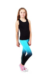 Seamless Full Length Leggings - Turquoise / Black