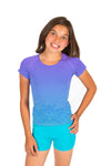 active Jacquard Tee - Periwinkle Turquoise