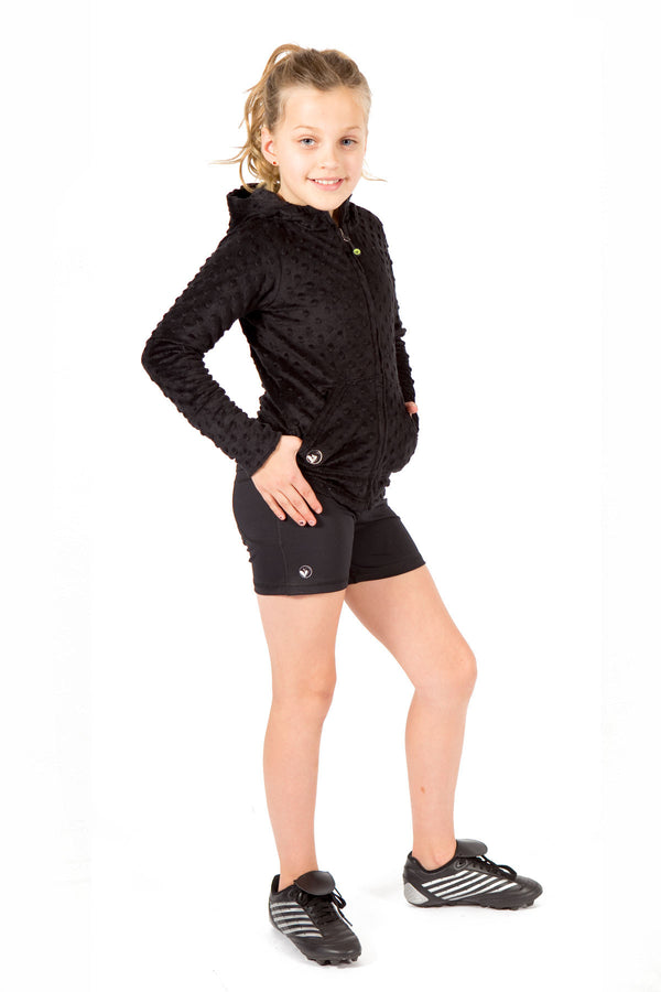 Black Bubble Hoodie + Sporty Shorts Set