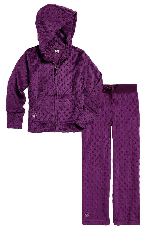 Girls Soft Minky Bubble Hoodie + Pant Set - Dark Purple by Limeapple