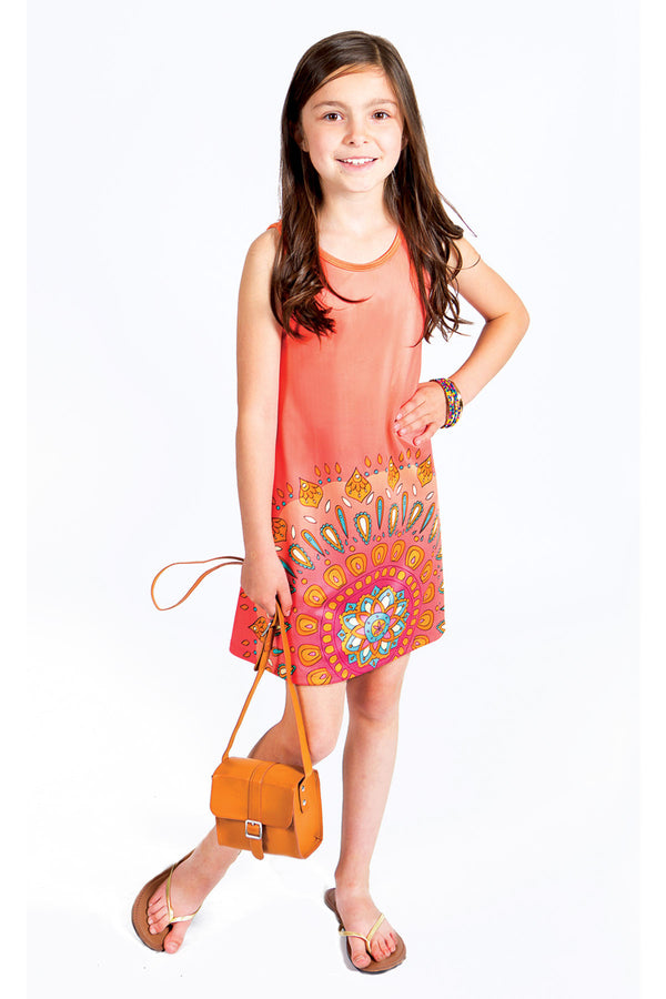Gemma Dress - Orange Print