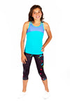 Turquoise Crossback Tank + Map Printed Leggings Set