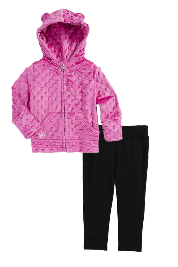 Baby Minky Dot Bubble Hoodie Legging Set - Orchid