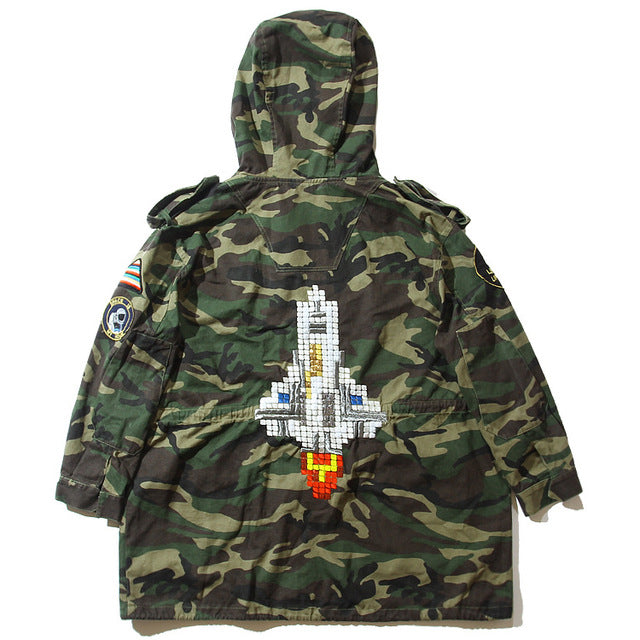 Long Lined Camo Hooded Jacket - ProducerDJ.Market