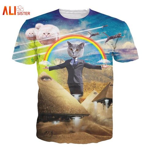 3D Cat Harajuku T-Shirt