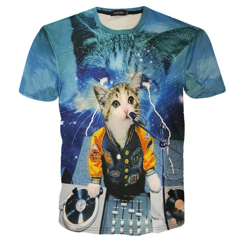 3D Cat v2 Harajuku T-Shirt