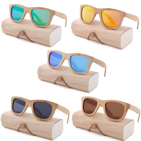 Square Bamboo Vintage Wood Sunglasses - ProducerDJ.Market