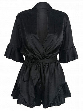 Black Wrap V-neck Ruffle Sleeve Tie Waist Satin Romper