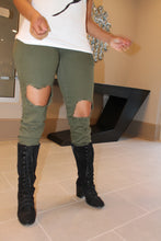 Olive Green Distressed Jeans