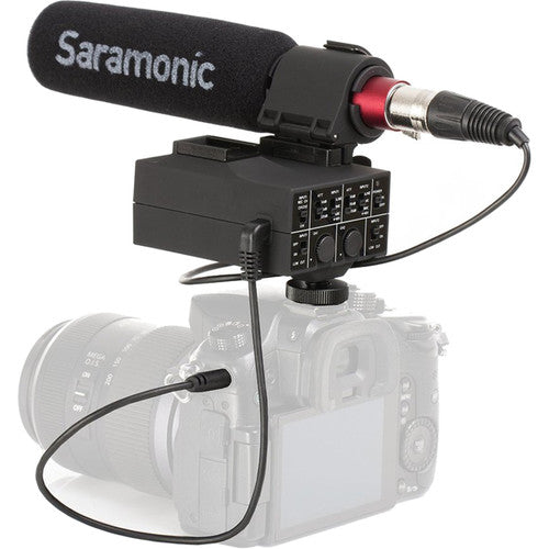 Saramonic MixMic Shotgun Microphone with Integrated 2-Channel XLR Audio Adapter Real Time Audio Control for DSLR Cameras & Camcorders