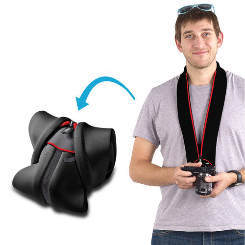 Miggo Padded  Camera Strap and Wrap  for CSC  ; Black/ Red