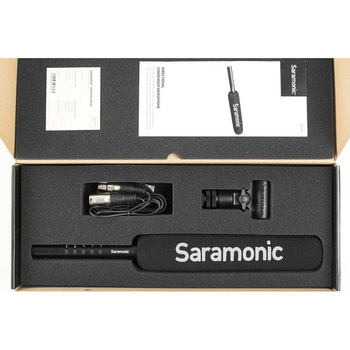 "Saramonic SR-TM7 Super-Cardioid Broadcast XLR Shotgun Condenser Microphone with Built-in Rechargeable Battery, 15"" Capsule, Digital High-Pass Filter, PAD, and High Frequency Boost Switches"