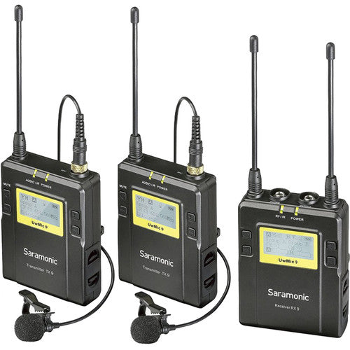 Saramonic UWMIC9 96-Channel Digital UHF Wireless Lavalier Microphone System with 2 Bodypack Transmitters, Portable Receiver, 2 Lav Mics, Shoe Mount, XLR/3.5mm Outputs (RX9+TX9+TX9)