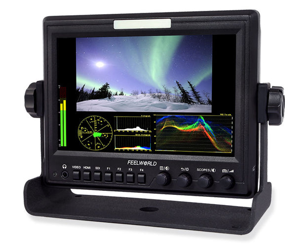 "Feelworld 7"" Aluminum Design IPS 1x80 Monitor with Waveform, Vectorscope and HDMI to SDI converter"