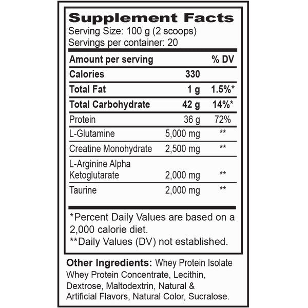 Supplement facts for BarwisMethods PRO, a high end protein including whey, one of the best muscle building foods - strawberry-watermelon flavor