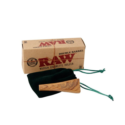 Raw Double Barrel Wooden Cigarette Holder