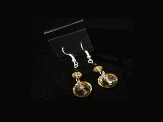 5455E Facetted Crystal Glass Earrings