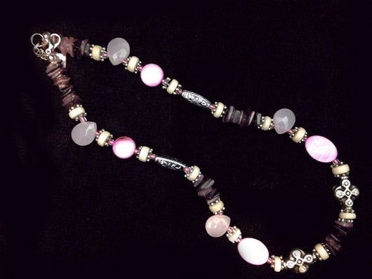 5465N Pink & Purple Shell Necklace