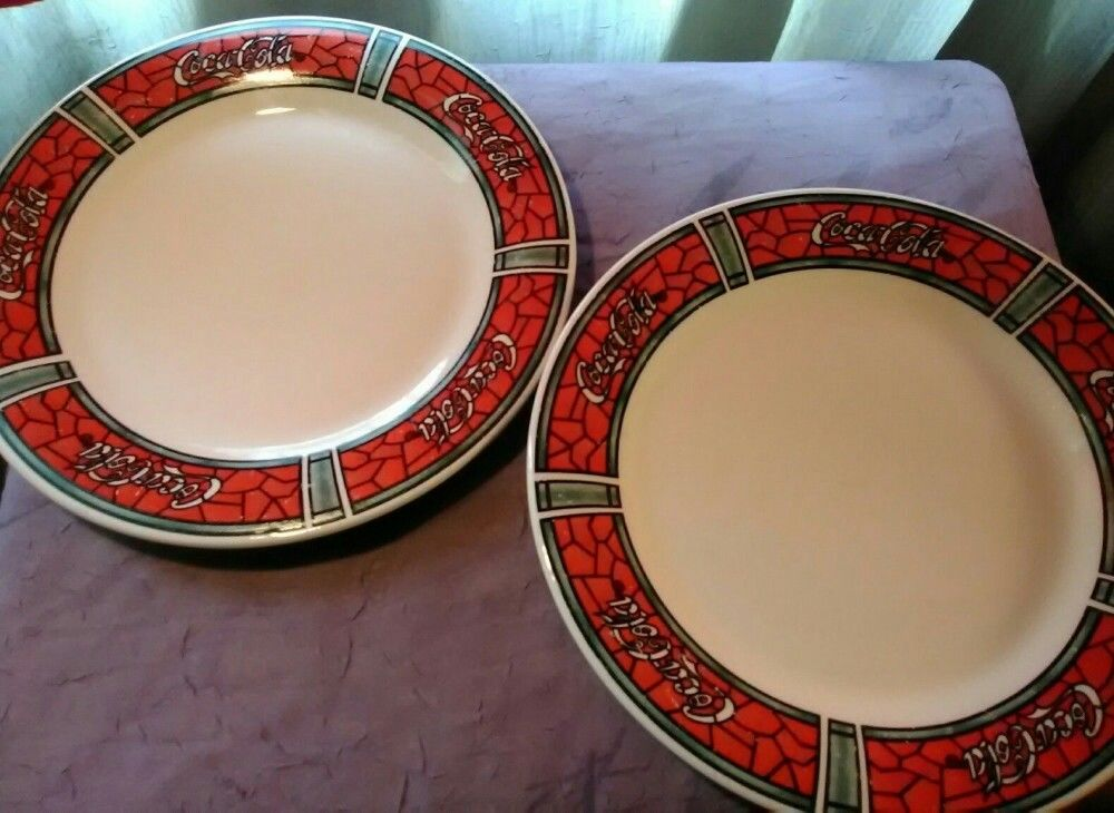 Set of 2 Coca-Cola Collectible Dinner Plates-Stained Glass Collection \u2013 Typsy Gypsy Caravan & Set of 2 Coca-Cola Collectible Dinner Plates-Stained Glass ...