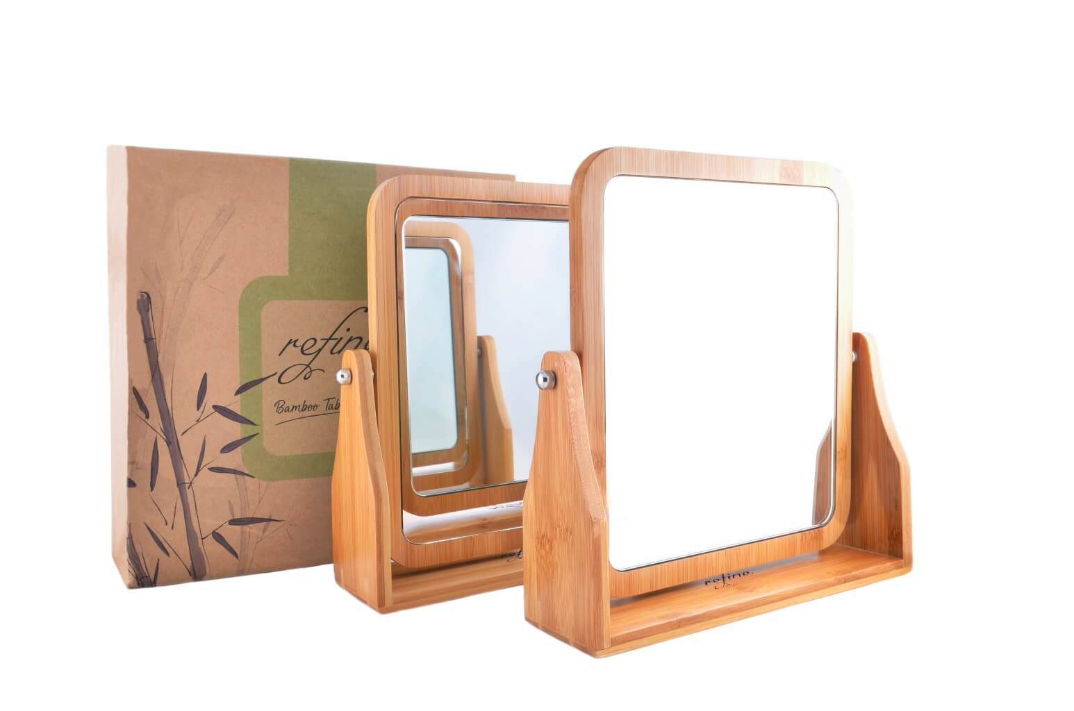 Refine Bamboo Vanity Mirror, 360 Swivel, Dual Sided 1x/3x Magnification For