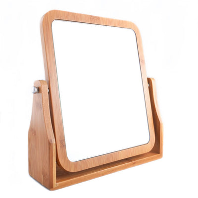 Refine Bamboo Vanity Mirror, 360 swivel, dual-sided 1x/3x magnification for tabletop, bathroom, countertop (Large)