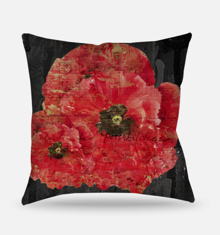 Red Poppies Collection Pillow - Flower