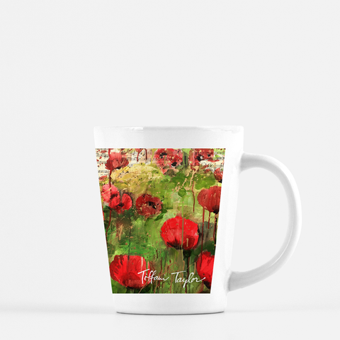 Red Poppies Sheet Music Latte Mug