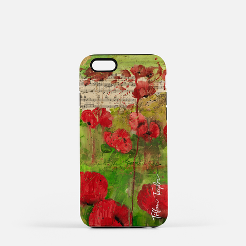 Red Poppy Sheet Music Phone Case