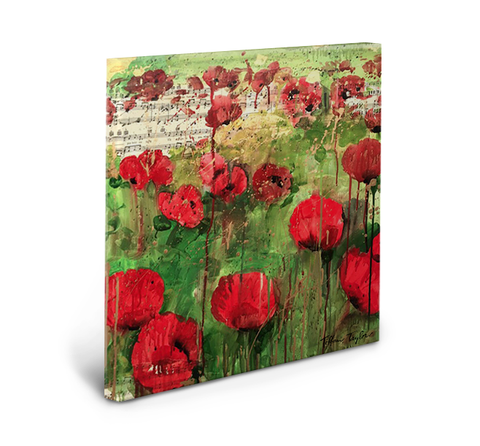 Red Poppies Sheet Music Gallery Wrapped Canvas