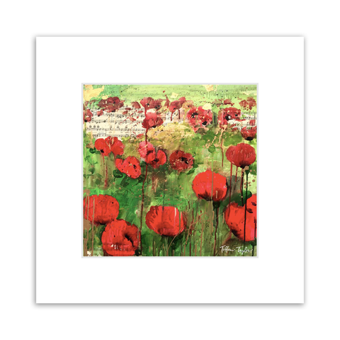 Red Poppies Sheet Music Matted Print