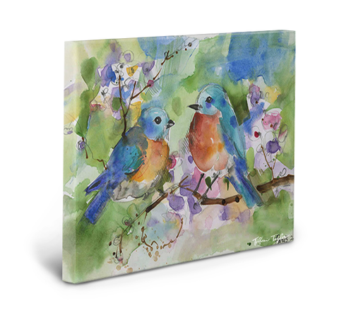 Sweet Blue Birds Love Gallery Wrapped Canvas