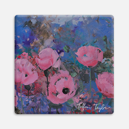 Expressionistic Pink Poppies Coaster
