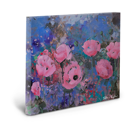 Expressionistic Pink Poppies Gallery Wrapped Canvas
