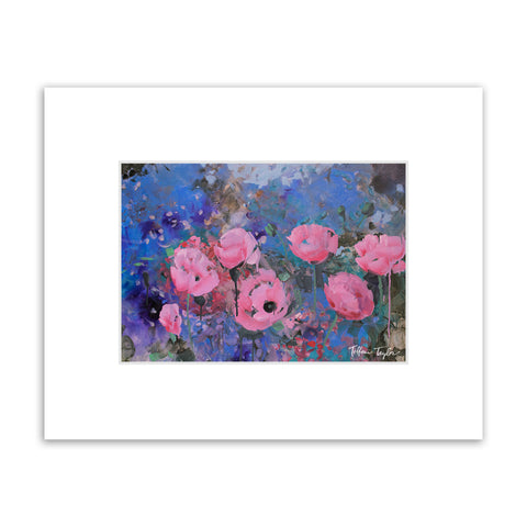 Expressionistic Pink Poppies Matted Print