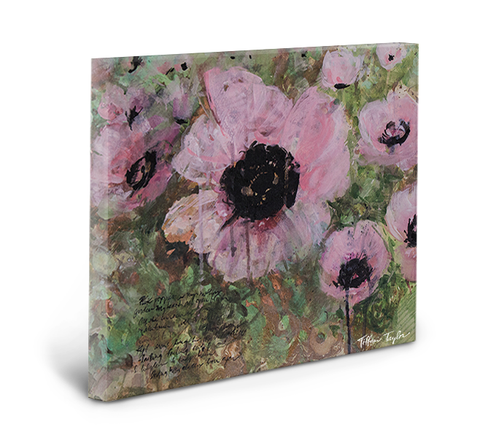 Pink Poppy Patina Gallery Wrapped Canvas
