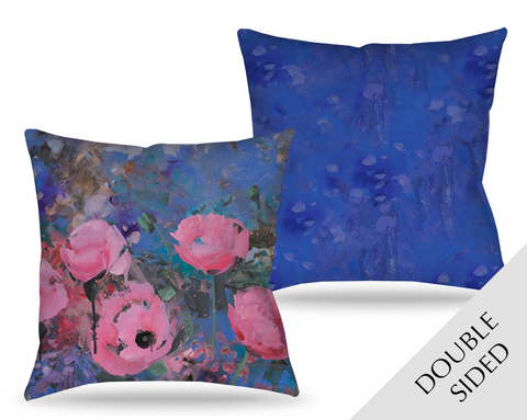 Expressionistic Pink Poppies Pillow
