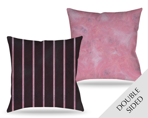 Pink Poppy Patina Pillow - Stripes
