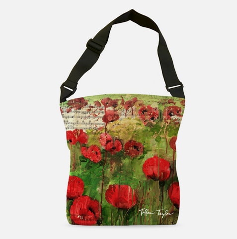 Red Poppies Sheet Music Tote Bag