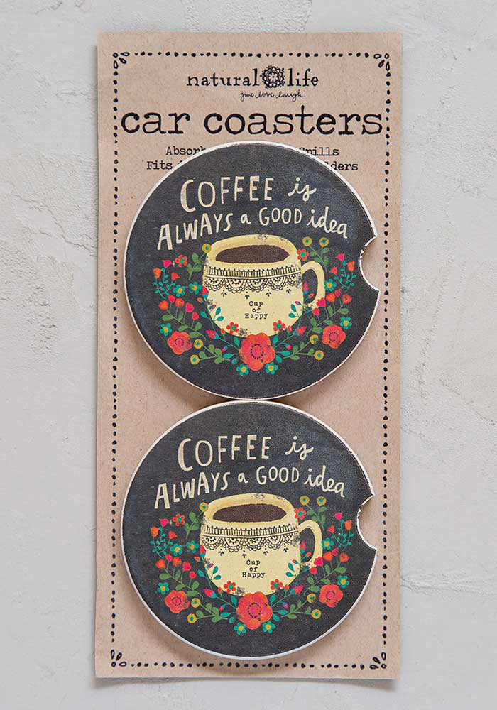 Coffee Is Always Good Set of 2 Car Coasters