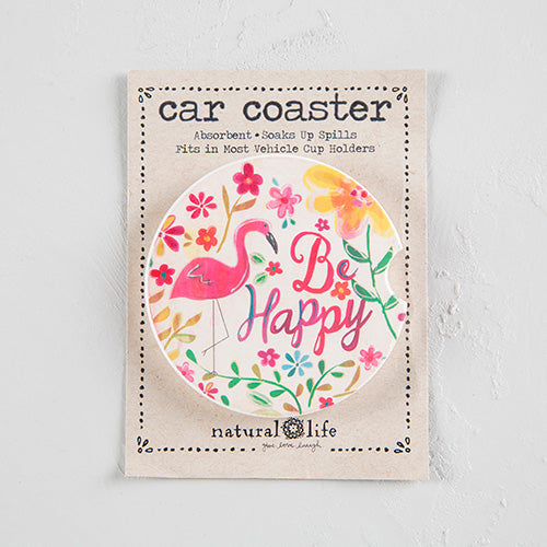 Be Happy Flamingo Car Coaster