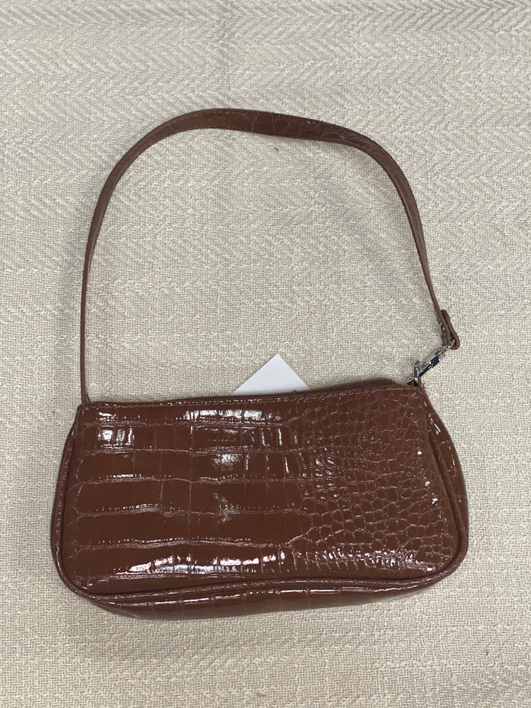 Crocodile Pattern Baguette Bag- Brown