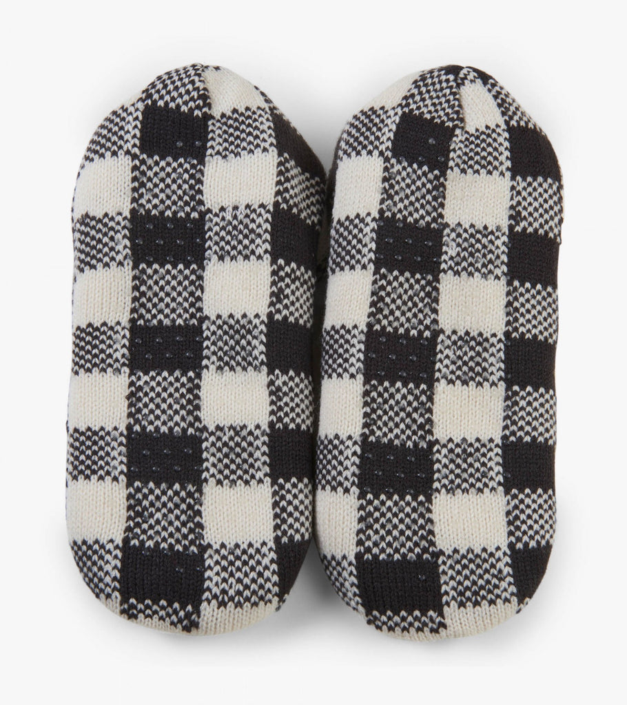 Women's Cozy Slippers - Charcoal Plaid
