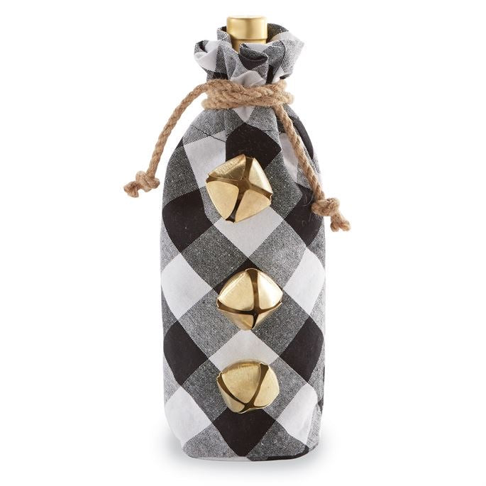 Ring In the Holidays Wine Bag - Black and White