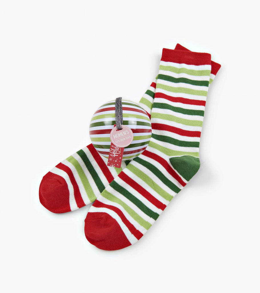 Women's Socks in Balls - Christmas Stripe