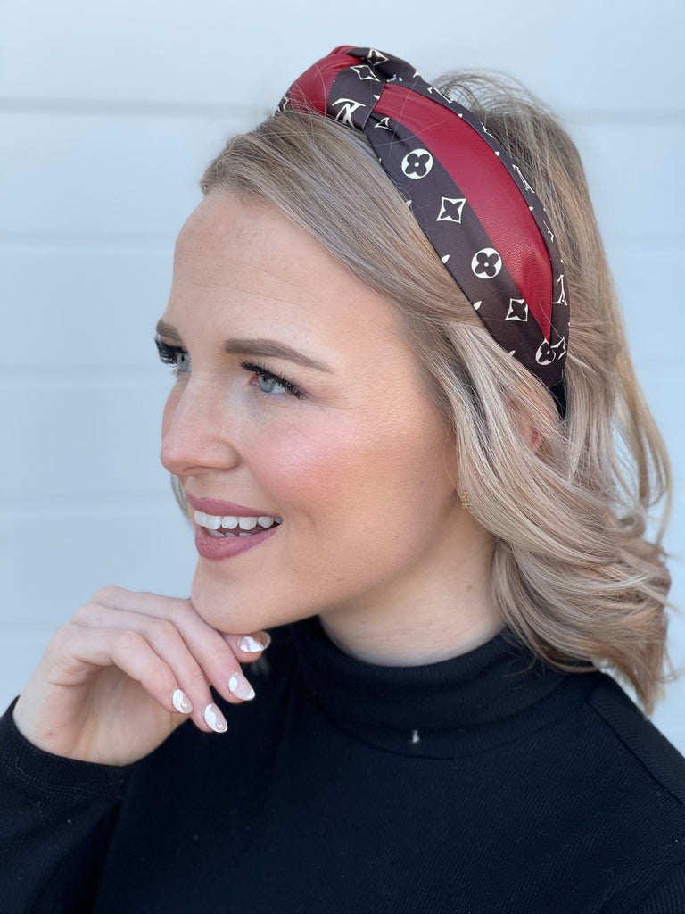Louis Leather Top Knot Headband - Red