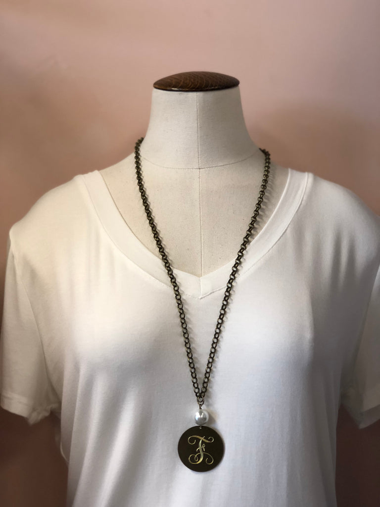 Sassy Pearl One Initial Necklace