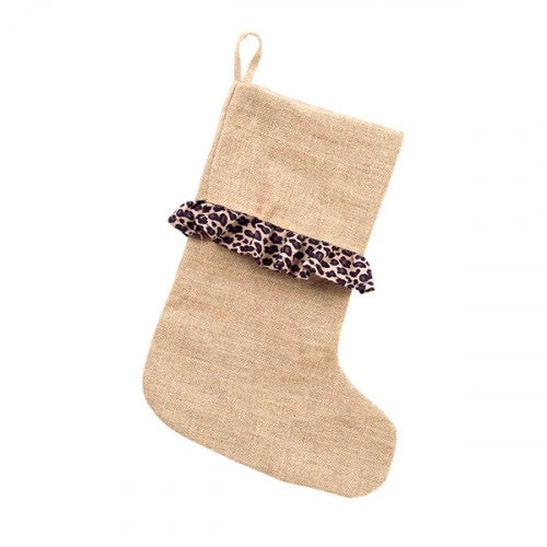 Christmas Stocking - Leopard Ruffle Burlap