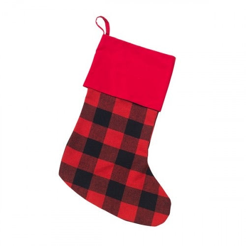 Christmas Stocking - Red Buffalo Check